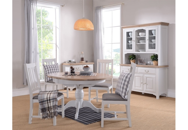 New England Grey Painted Round Ped Dining Table Set