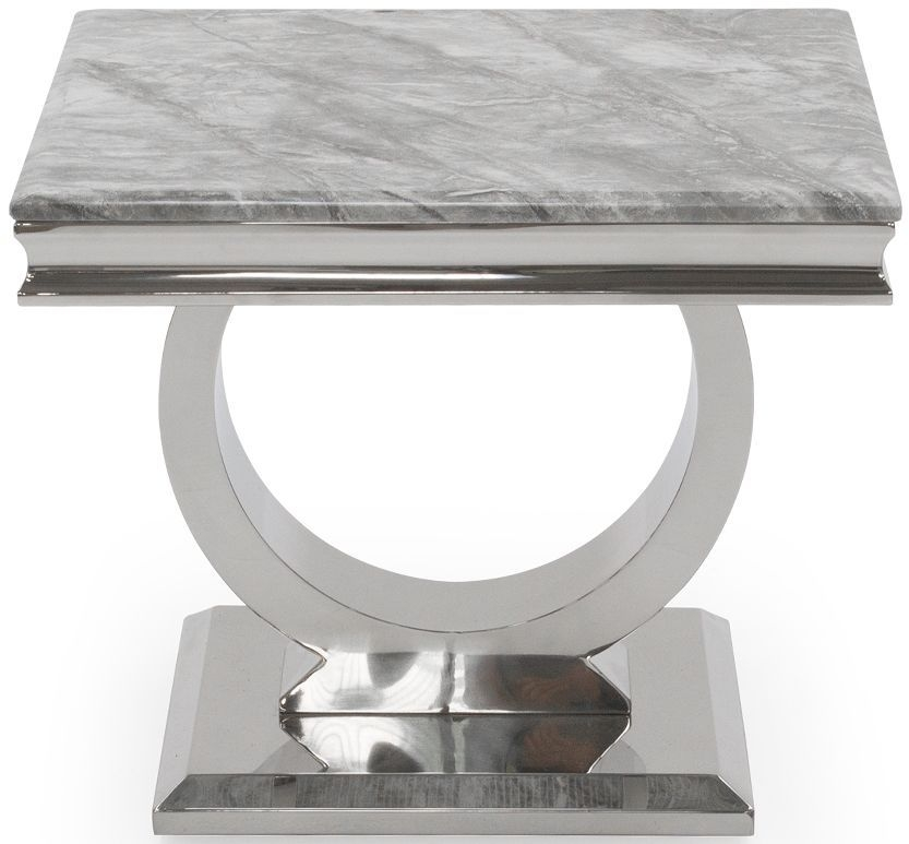 Arianna Grey Marble Lamp Table