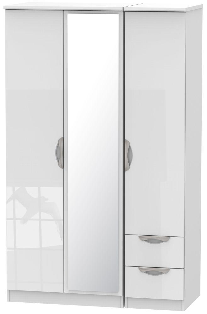 Camden High Gloss White 3 Door 2 Drawer Mirror Wardrobe