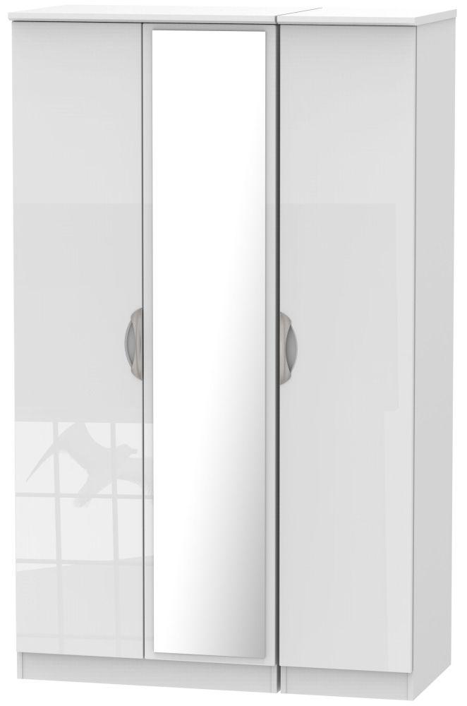 Camden High Gloss White 3 Door Mirror Wardrobe