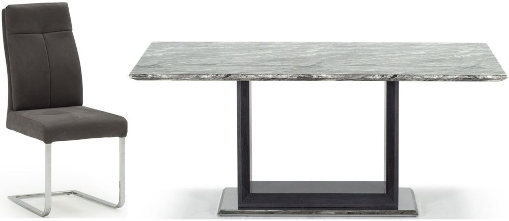 Donatella Grey Marble 180cm Dining Table & 6 Chairs