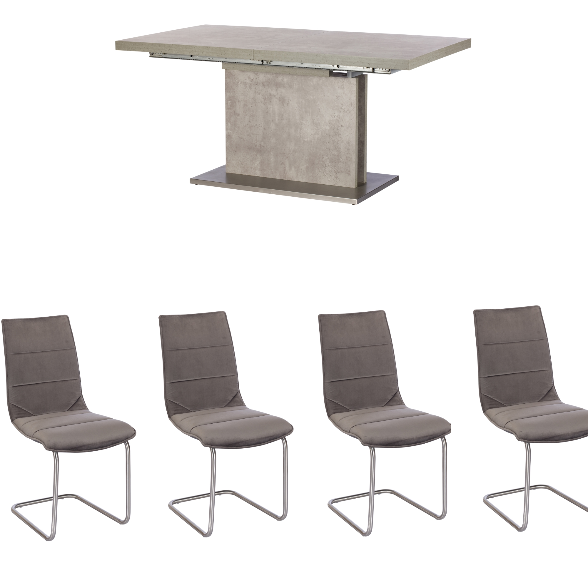 Pella Concrete Effect Extending Dining Table & 4 Chairs