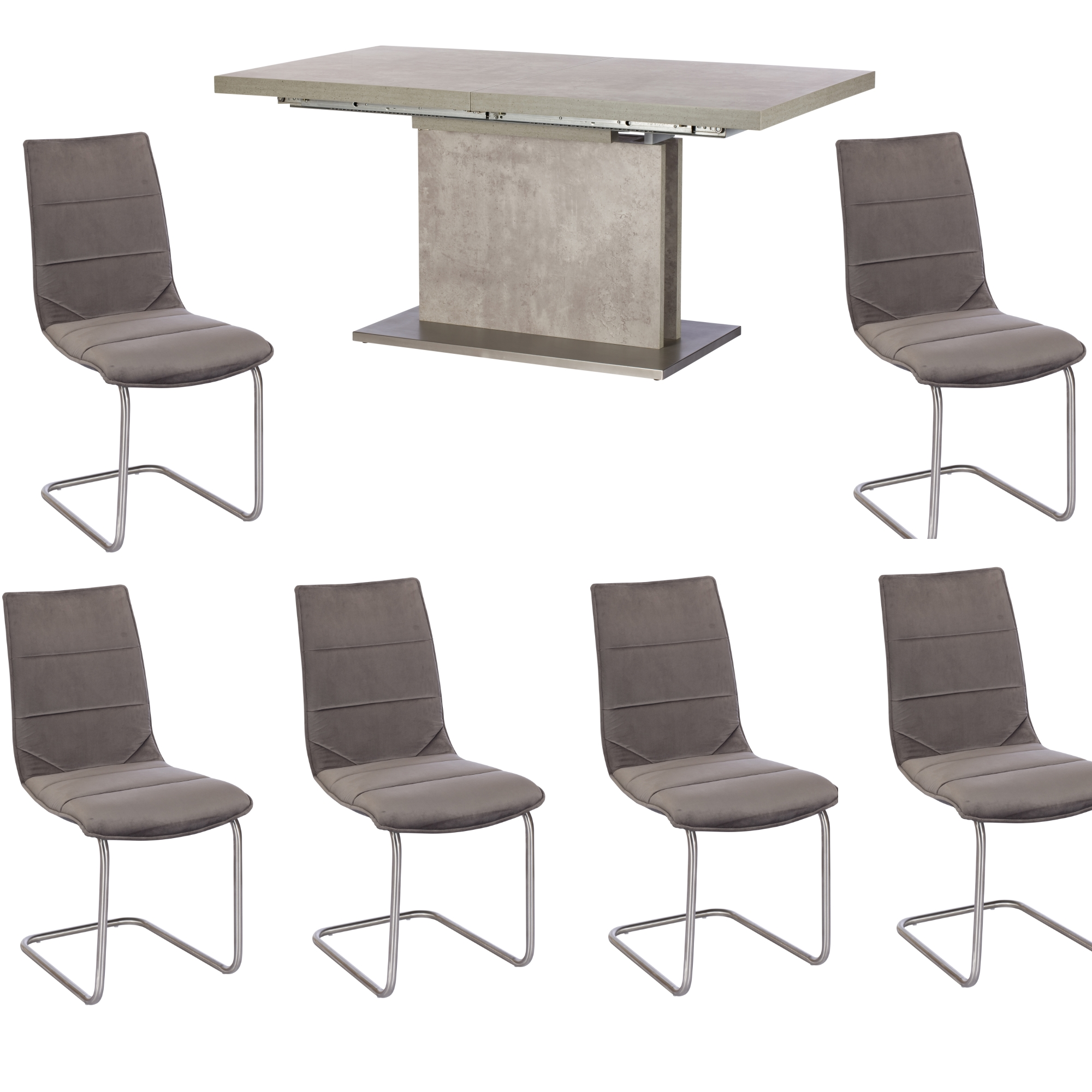 Pella Concrete Effect Extending Dining Table & 6 Chairs