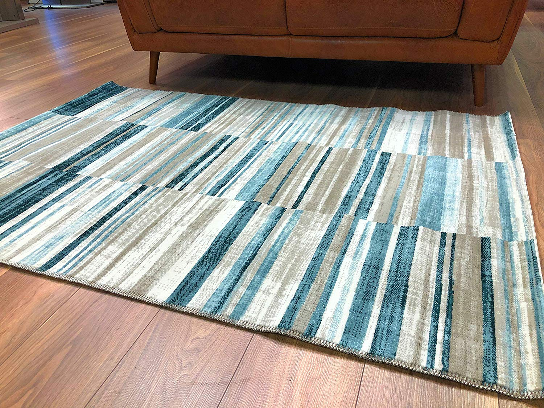 Velour GSF 115 x 170 cm Stripe Rug Blue