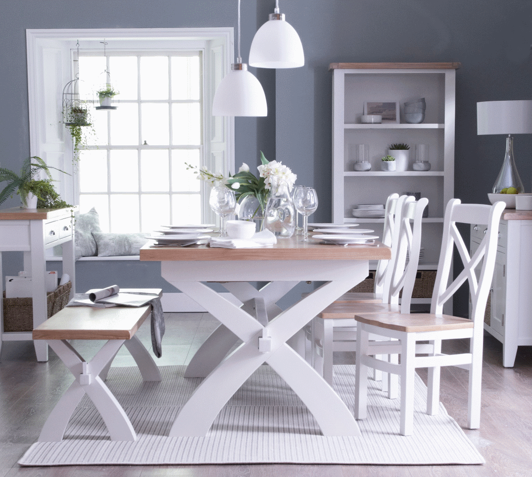 Colesbourne White Painted Ladder Back Fabric Dining Chair
