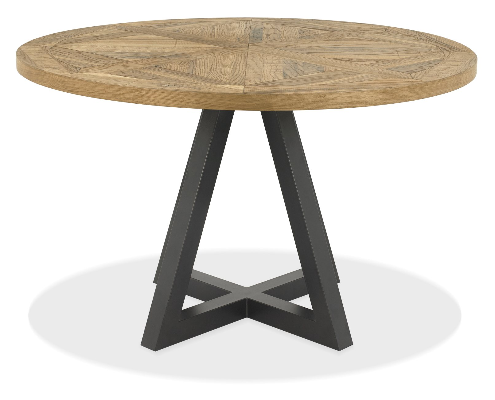 Indus Rustic Oak Circular Dining Table