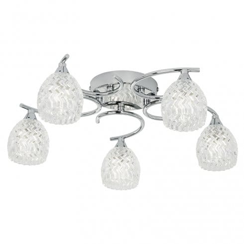 E4 5 Light Flush Ceiling Light Chrome Acrylic