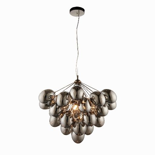 E12 6 Light Ceiling Pendant in Polished Black Finish with Smoked Glass Shade