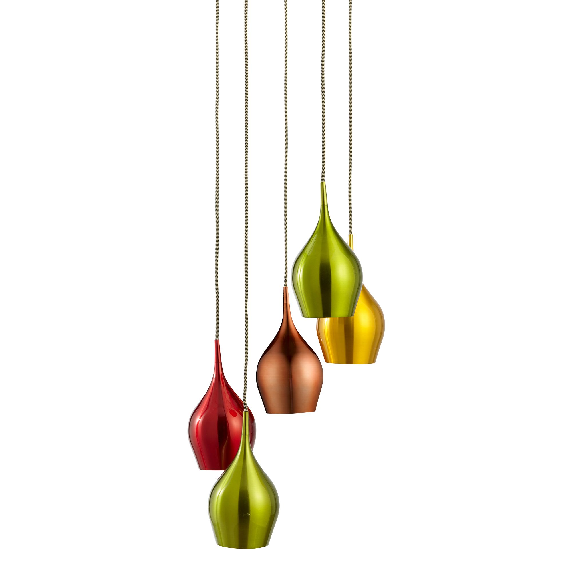 S5 VIBRANT ANODISED ALUMINIUM, 5 LIGHT MULTI-DROP PENDANT MULTI-COLOURED