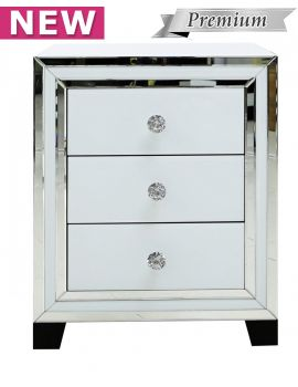 Brooklyn White 3 Drawer Bedside