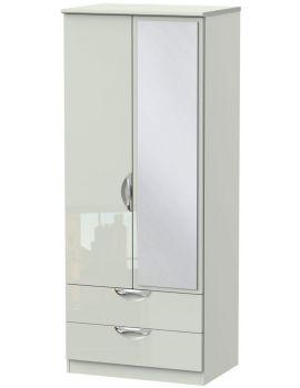 Camden High Tall Gloss 2 Door 2 Drawer Mirror Wardrobe