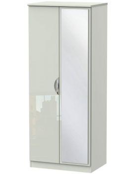 Camden High Gloss Tall 2 Door Mirror Wardrobe