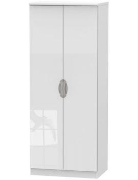Camden High Gloss White 2 Door Plain Wardrobe