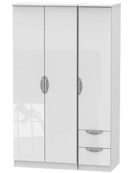Camden High Gloss White 3 Door 2 Drawer Wardrobe