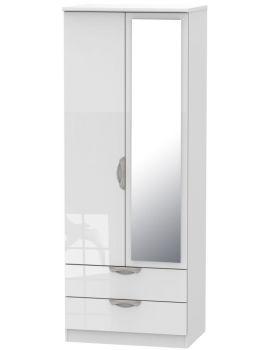 Camden High Gloss White Tall 2 Door 2 Drawer Mirror Wardrobe