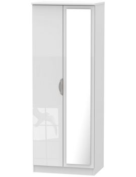 Camden High Gloss White Tall 2 Door Mirror Wardrobe