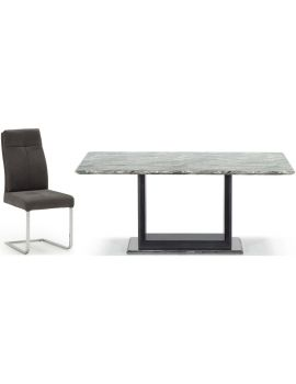 Donatella Grey Marble 220cm Dining Table & 6 Chairs