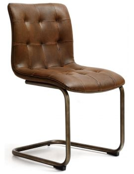 Industrial Dining Chair Antique PU Vintage Frame