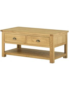Portland Oak Coffee Table With Drawers