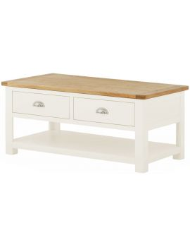 Portland White Coffee Table With Drawers
