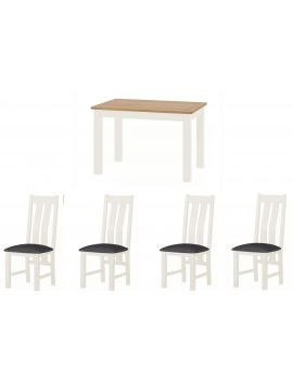Portland White Dining Table & 4 Chairs