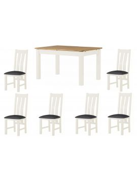 Portland White Extending Dining Table & 6 Chairs Set