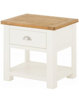 Portland White Lamp Table With Drawer