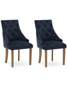 Vida Living Hobbs Blue Midnight Velvet Dining Chair (Pair)