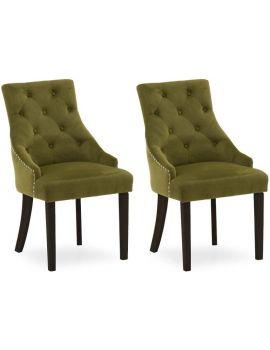 Vida Living Hobbs Green Moss Wenge Leg Velvet Dining Chair (Pair)