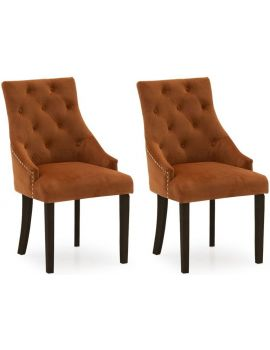 Vida Living Hobbs Orange Pumpkin Wenge Leg Velvet Dining Chair (Pair)