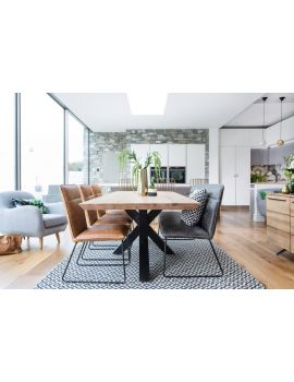 Finsbury Oak 200cm Hoxton Industrial Dining Table Set