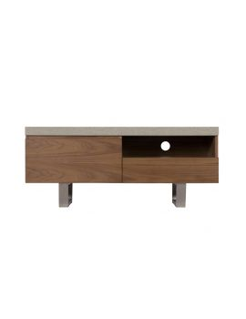 Pella Concrete Effect & Walnut Tv Unit
