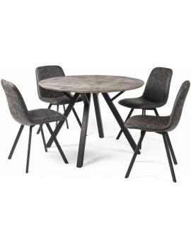 Tetro Round Dining Table & 4 Chairs