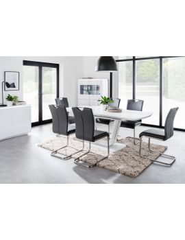 Lazzaro Dining Table & 6 Chairs, Select Colour: White