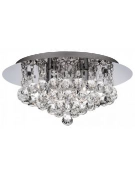 S3 CHROME 4 LIGHT SEMI-FLUSH WITH DIAMOND SHAPE CRYSTALS