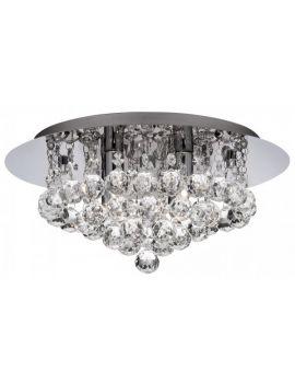 S3 CHROME 4 LIGHT SEMI-FLUSH WITH DIAMOND SHAPE CRYSTALS